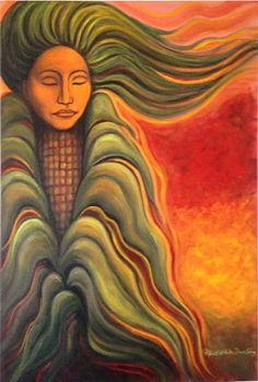 """There towards the North, There the fog is lying, There the fog is lying. In the middle stands Blue Corn. Happily, prettily, she is singing, Ha-we-ra-na na-a-se.  (Traditional Tewa song-prayer. """"Corn Dawn Maiden"""" painting by Marti Fenton, copyright reserved.)"""