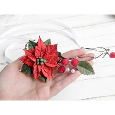 Flower winter crown Red bridal crown Holiday flower crown Red... ($32) ❤ liked on Polyvore featuring accessories, hair accessories, bridal flower hair accessories, flower crowns, bridal flower hair clip, flower hair accessories and bride hair accessories