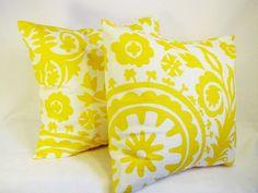 Yellow Throw Pillows - 18 x 18 inch Suzani Decorative Throw Pillows - Couch Pillows - Accent Pillow. $30.00, via Etsy.