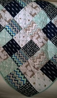 Baby Quilt, woodland, deer, arrows, feathers, leaves, chevron, blue, mint, brown, white, gender neutral,nursery bedding,toddler quilt,rustic by SeamsOfDreams on Etsy