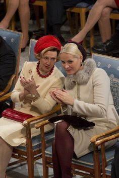 Queen Sonja, and Crown Princess Mette-Marit of Norway at The Nobel Peace Prize Ceremony in Oslo