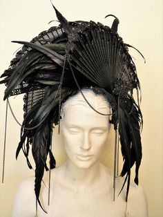MORRIGAN headdress gothic black WGT fans feathers rhinestones