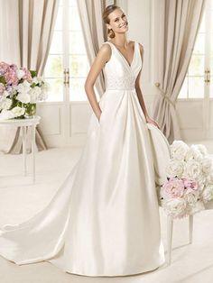 Cora-Vestido de Noiva em cetim - dresseshop.pt