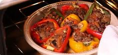 Slimming World mince stuffed peppers - serve with a salad.