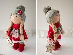 Winter tilda doll Christmas doll Art doll handmade blonde red grey colors soft…