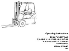 Original Illustrated Factory Operating and Maintenance Instructions for Linde Electric Forklift Truck E-Series Type 335-02.Original factory manuals for Linde Forklift Trucks, contains high quality images, circuit diagrams and instructions to help you to operate and repair your truckCovered models: E