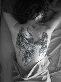 phoenix tattoo - the feathers are amazing but the swan neck - not so much