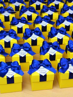 Yellow Wedding Bonbonniere - Elegant Wedding favor boxes with Royal Blue satin ribbon bow and personalized tag Candy boxes for guests Yellow Wedding Favors, Blue Yellow Weddings, Candy Wedding Favors, Elegant Wedding Favors, Wedding Favor Boxes, Wedding Gifts, Wedding Souvenir, Wedding Bands, Wedding Flowers