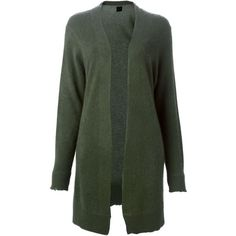 Rta Distressed Open Front Cardigan (875 CAD) ❤ liked on Polyvore featuring tops, cardigans, green, cashmere open front cardigan, green top, rta, green cashmere cardigan and green cardigan
