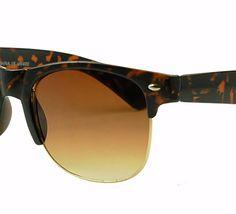 Round half rim tortoise print clubmaster. Classic plastic frame sunglasses style #6841. www.sunglassstopshop.com