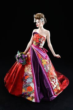 Recycled wedding kimono as a ball dress. This gives me ideas! Ball Dresses, Ball Gowns, Nice Dresses, Traditional Japanese Kimono, Traditional Dresses, Princess Wedding Dresses, Colored Wedding Dresses, Japanese Wedding Dresses, Kimono Fashion