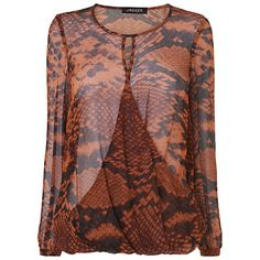 Wear this brown snake print silk top with black jeans and heels. Add a little jewellery and off you go. Available for £29.95 from Miss Peachy in a range of sizes this has a RRP of £180