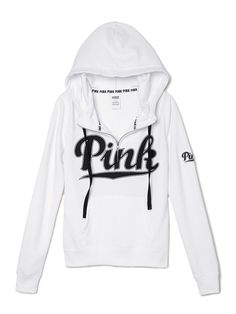 White and black PINK hoodie Sporty Outfits, Pink Outfits, Pretty Outfits, Cute Outfits, Vs Pink Outfit, Zip Hoodie, Sweater Hoodie, Pink Sweater, Marca Pink