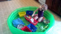An inexpensive baby pool is a perfect setting for a million messy sensory experiences: water play, soap bubbles, rice play, play dough, etc.