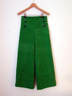 PANTS AHOI CORDUROY, Green Corduroy Children's And Babies' Sailor Pants, Wide Long Legs, Sailor Flap Button Closure, Cotton, Maritime Autumn
