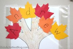 Fall Tree - Leaves with letters of first name
