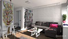 Urządzamy małe mieszkanie: aranżacje Best Living Room Design, Living Room Interior, Living Room Designs, Contemporary Interior, Bedroom Wall, Bookshelves, Bookshelf Ideas, Home And Living, Interior Inspiration