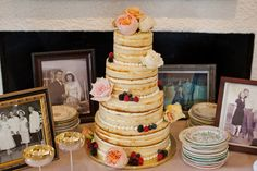 Pictures of our loved ones on their wedding days around the cake