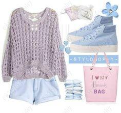 Jeans, purple sweater, blue shoes