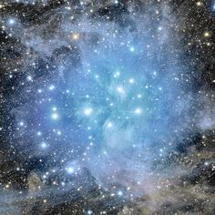 Deep view of the Pleiades star cluster and reflection nebulosity - Image Credit: Stanislav Volskiy -  Image enhancement: Jean-Baptiste Faure