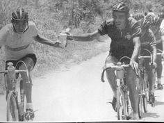 Vuelta a Colombia. El Ñato Suarez recibe la caramañola de Ramón Correa, un contrincante enconado; en el ciclismo existe una vieja ética donde el humanismo brota a flor de piel: lo importante no es llegar, sino cómo llegar. Aquí estos dos Escarabajos se ponen en igual de condiciones al mejor estilo Coppi-Bartali