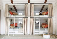 At the Ketchum, Idaho, retreat of interior designer Mary Lynn Turner and her family, the bunk room is outfitted with custom-made bunk beds and ladders; the fir-paneled walls are painted in Farrow & Ball's Pointing, the pillows are covered in Rogers & Goffigon fabrics, and the curtains are of a linen by Rose Tarlow Melrose House.