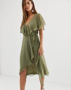 4e42709274 ASOS DESIGN cape back dipped hem midi dress Wrap Dress