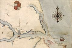 This detail made from a map drawn by Roanoke colonial leader John White, shows the location of Roanoke Island, the pink-colored island to the lower right.