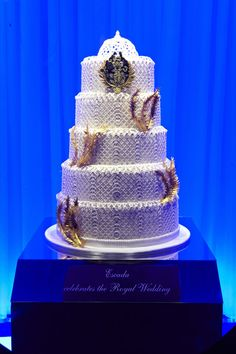 Wedding cake designed by Escada on display at Harrods on April 26, 2011 in London, England. Harrods commemorates the royal wedding with an exquisite collection of tiered designer wedding cakes in its Brompton Road windows.