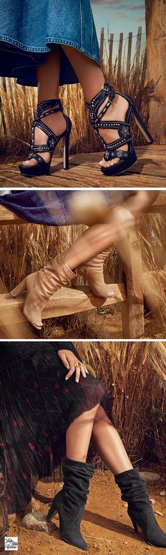 Strut through the fields with western-inspired heels and booties by your favorite designers including Alexander McQueen, Jimmy Choo, and Manolo Blahnik.
