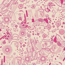 "AGFUT14508  -  Utopia Urban Sprawl Magenta - Art Gallery Fabric 44""/45"" Per Metre"