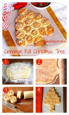 Cinnamon roll Christmas tree recipe    Warm cinnamon rolls fresh from the oven are a wonderful treat any day of the year. Give them a festive twist by presenting them in the shape of a Christmas tree to fill hungry bellies on Christmas morning. #kidspotkitchen