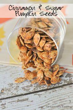 Cinnamon and Sugar Pumpkin Seeds Cinnamon & Sugar Roasted Pumpkin Seeds - Farmer's Wife Rambles Cinnamon Sugar Pumpkin Seeds, Pumpkin Seed Recipes, Pumpkin Ideas, Pumkin Seeds, Cooking Pumpkin Seeds, Oven Roasted Pumpkin Seeds, Sweet Pumpkin Seeds, Toasted Pumpkin Seeds, Fall Recipes