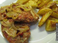 Pikantné bravčové plátky - Bravčové karé vopred nakrájame na hrubšie plátky, z oboch strán osolíme, okoreníme, potrieme prelisovaným cesnakom,... Recepty pre každodennú kuchyňu s fotografiami. Pork, Meat, Chicken, Kale Stir Fry, Pork Chops, Cubs