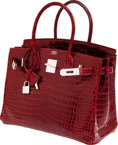 Hermes Exceptional Collection Shiny Rouge H Porosus Crocodile Birkin Bag  with Solid White Gold - Available at 2011 December 6 - 7 Handbags  . 2c52efa0d02
