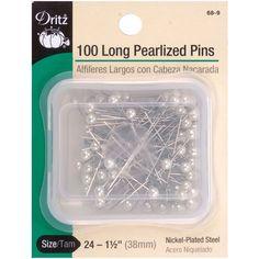 Dritz 1.5'' Long Pearlized Pins 100pcs Size 24 White