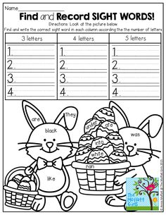 Find and record a hidden SIGHT WORD! Record the sight word according to the number of letters.  FUN and EFFECTIVE! Kindergarten Language Arts, Teaching Kindergarten, Teaching Language Arts, Easter Worksheets, Sight Word Activities, Easter Activities, Morning Work, School Fun, School Ideas