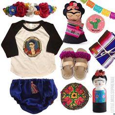 Frida Kahlo Baby Mexican Style: Love this flatlay by @little.miss.sophiemae the flatlay queen!  . . . #flatlay #Frida #vivafrida #kidslookbook #instastyle #ootd #fridakahlo #flatlaythenation #fiesta #fiestafiesta #fridainspired