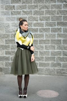 Green tulle skirt, oversized scarf, top knot, bun hair style, blogger style, tights, nine west shoes, apple watch http://blog.houseofbohn.com/2016/01/19/fashion-green-tulle-skirt/
