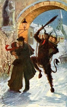 Couple about to get swatted by Krampus with Birch Branches. PNW Krampus use Alder. Santa's use of Positive and Negative rewards to train people to behave. Krampus punished the misbehaved during Christmas. Krampus Legend, Anti Santa, Gravure Photo, Yule Goat, Bad Santa, Arte Horror, Illustrations, Winter Solstice, Vintage Christmas