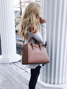 Tan Givenchy Satchel with White Long-sleeve shirt