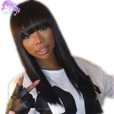 Find More Human Wigs Information about Short Medium Long natural silky straight full lace wig with bangs Brazilian lace front human hair wig with bangs for black women,High Quality wigs for african american women,China wig purple Suppliers, Cheap wig top from Luffy Wig Store on Aliexpress.com