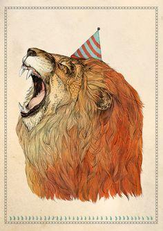 Birthday Lion // A3 print