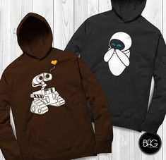 Check out my shop for more: https://www.etsy.com/shop/BlueArtsGraphix Feel free to message me with custom requests. Thanks! *BROWN/ Wall-e *GRAY/ Eve WALL-E and EVE Hoodies - Get yours Today! - Printed in the USA, Florida *50% cotton, 50% polyester Oxford is 49% cotton; 51%