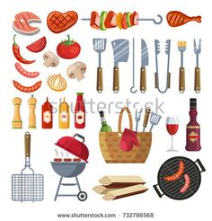 Different special tools and food for barbecue party. Grilled vegetables, meat, steak and sausage. Bbq grill and food grilled, tools and vegetables illustration Vegetable Illustration, Flat Illustration, Bbq Grill, Barbecue, Flat Design Icons, Icon Design, Meat Steak, Vegetable Basket, Food Icons