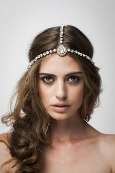 For the vegan bride who wants to channel the boho look, the Selene Headpiece from Bo and Luca.. Antique Silver and Gold Glass Beaded Headpiece.. www.boandluca.com