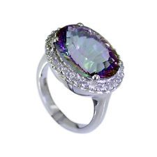 divine Mystic Quartz Silver Multi Ring indian L-1in US 5678