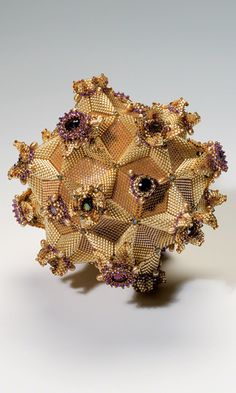 Home Décor Geometric Sculpture with Seed Beads, Swarovski Crystal Components and…