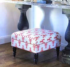 Upholstering a stool with nautical fabric: http://www.completely-coastal.com/2011/05/fabrics-to-sea-lobster-prints-to-love.html