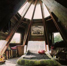 Peaceful bedroom in the woods